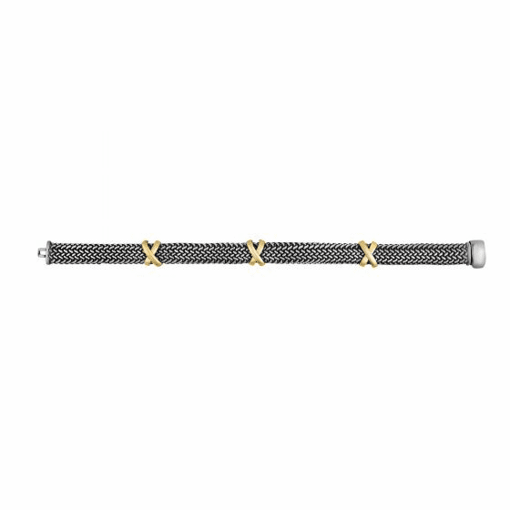 18kt Gold and Silver 10mm Tuscan Woven Bracelet with three X stations