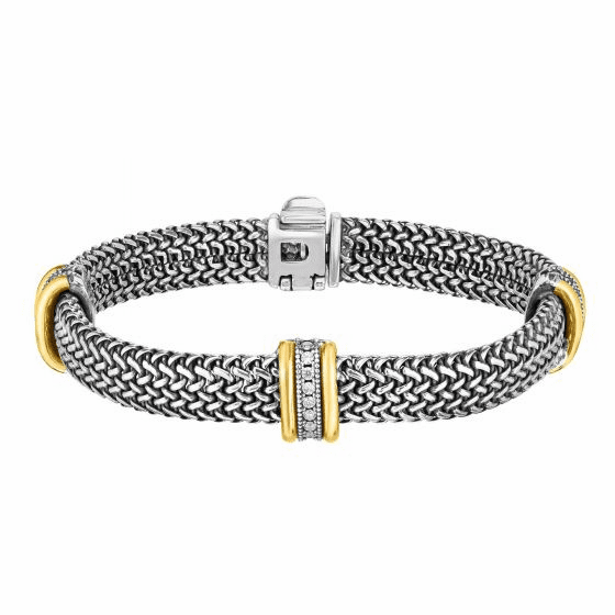 18kt Gold and Silver 10mm Tuscan Woven Bracelet with White Sapphire
