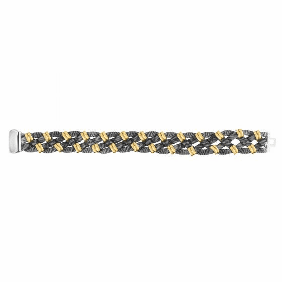 18kt Gold and Silver 15mm Braided Tuscan Woven Bracelet