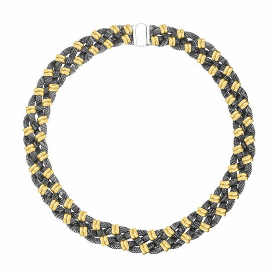 18kt Gold and Silver 15mm Braided Tuscan Woven Necklace