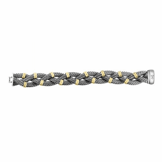 18kt Gold and Silver 19mm Bold Braided Tuscan Woven Bracelet