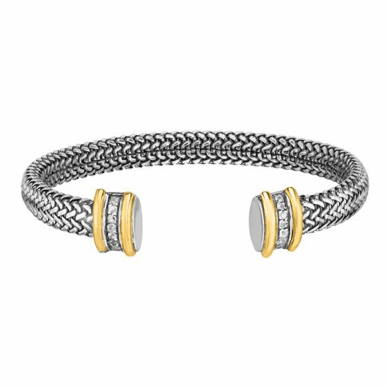 18kt Gold and Silver 9mm Tuscan Woven Cuff Bangle with White Sapphire