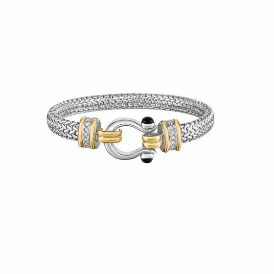 18kt Gold & Silver 7mm Tuscan Woven Bangle with Onyx & White Sapphire