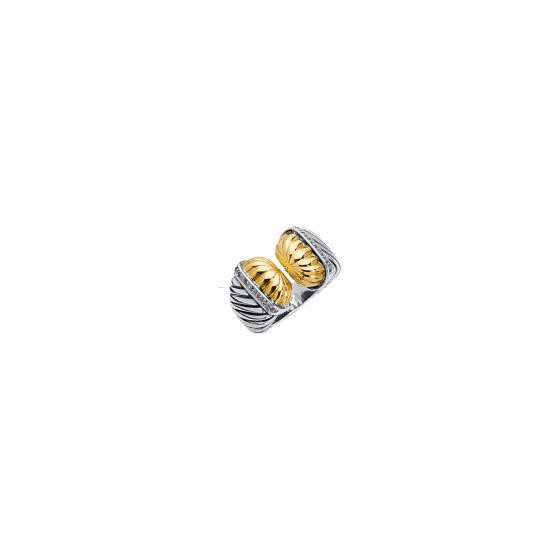 18kt Gold & Silver Italian Cable Graduated Textured Ring with Diamonds