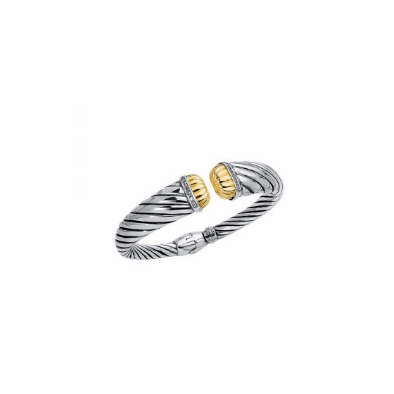 18kt Gold & Silver Italian Cable Textured Cuff Bangele with Diamonds