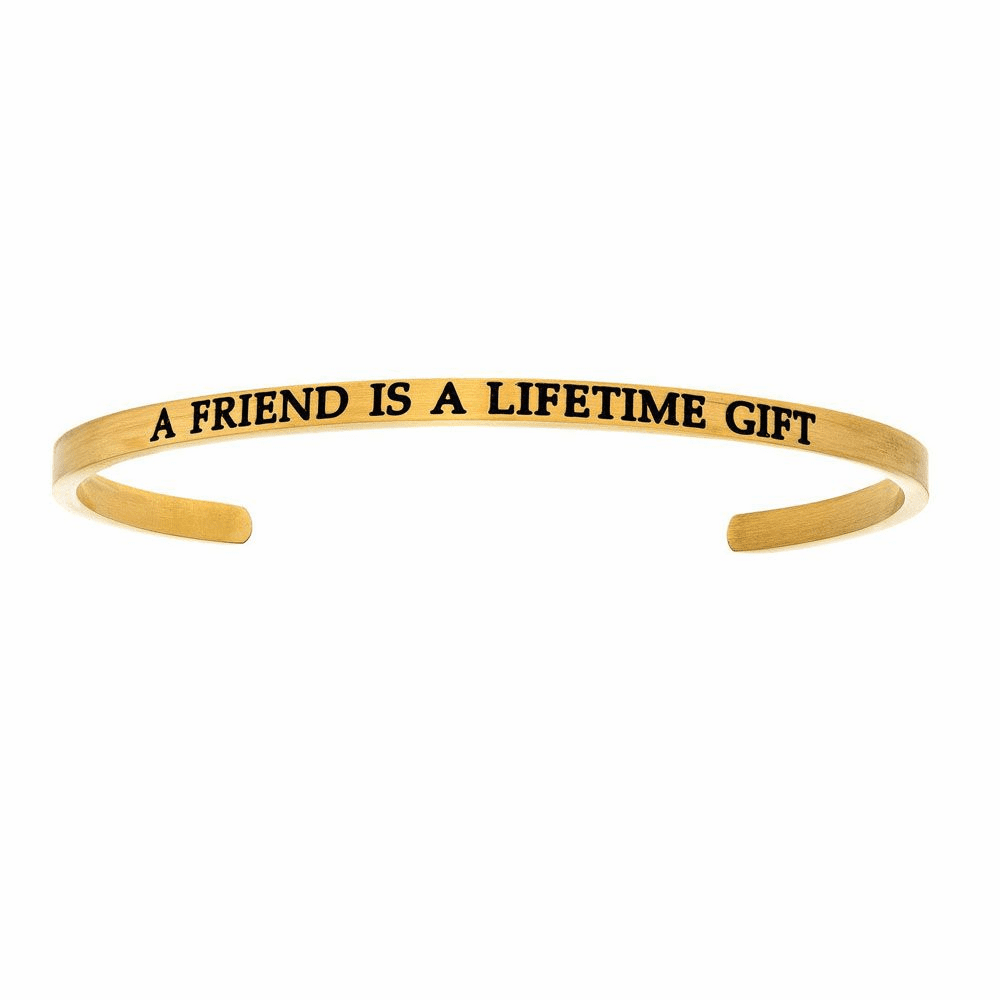 A Friend is a Lifetime Gift Diamond Cuff Bangle - Stainless Steel