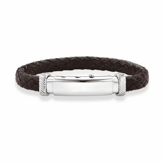 Adjustable Bracelet In Sterling Silver and Flat Brown Italian Leather