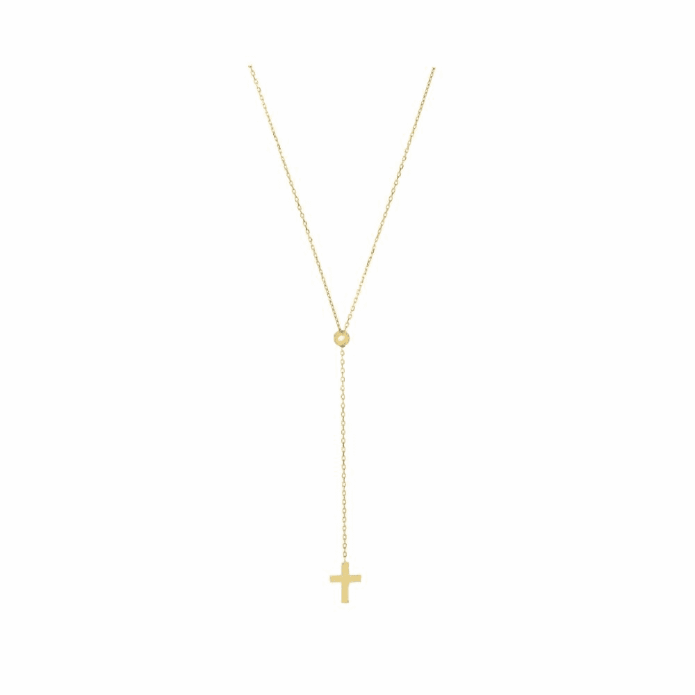 Adjustable Cable Chain Necklace - 14K Yellow Gold 26 Inch