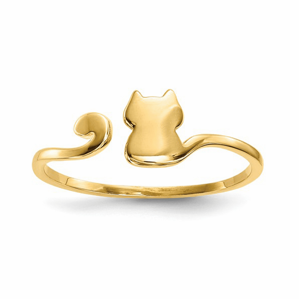 Adjustable Polished Cat Cuff Ring - 14K Yellow Gold Size 7