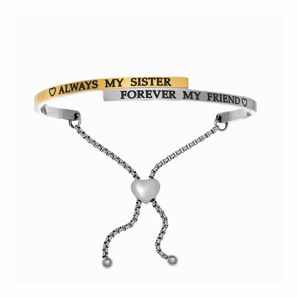 Always My Sister-Forever My Friend Adjustable Bangle - Stainless Steel