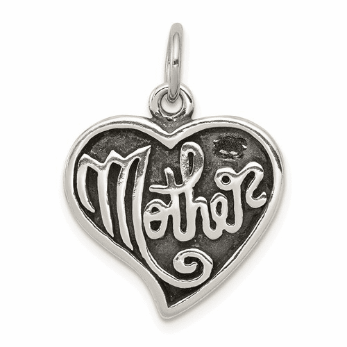 Antique Mother Heart Charm - Sterling Silver