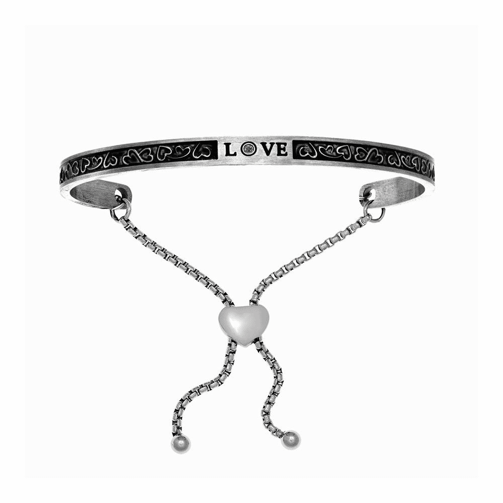 Antique Square Love Adjustable Bangle - Stainless Steel