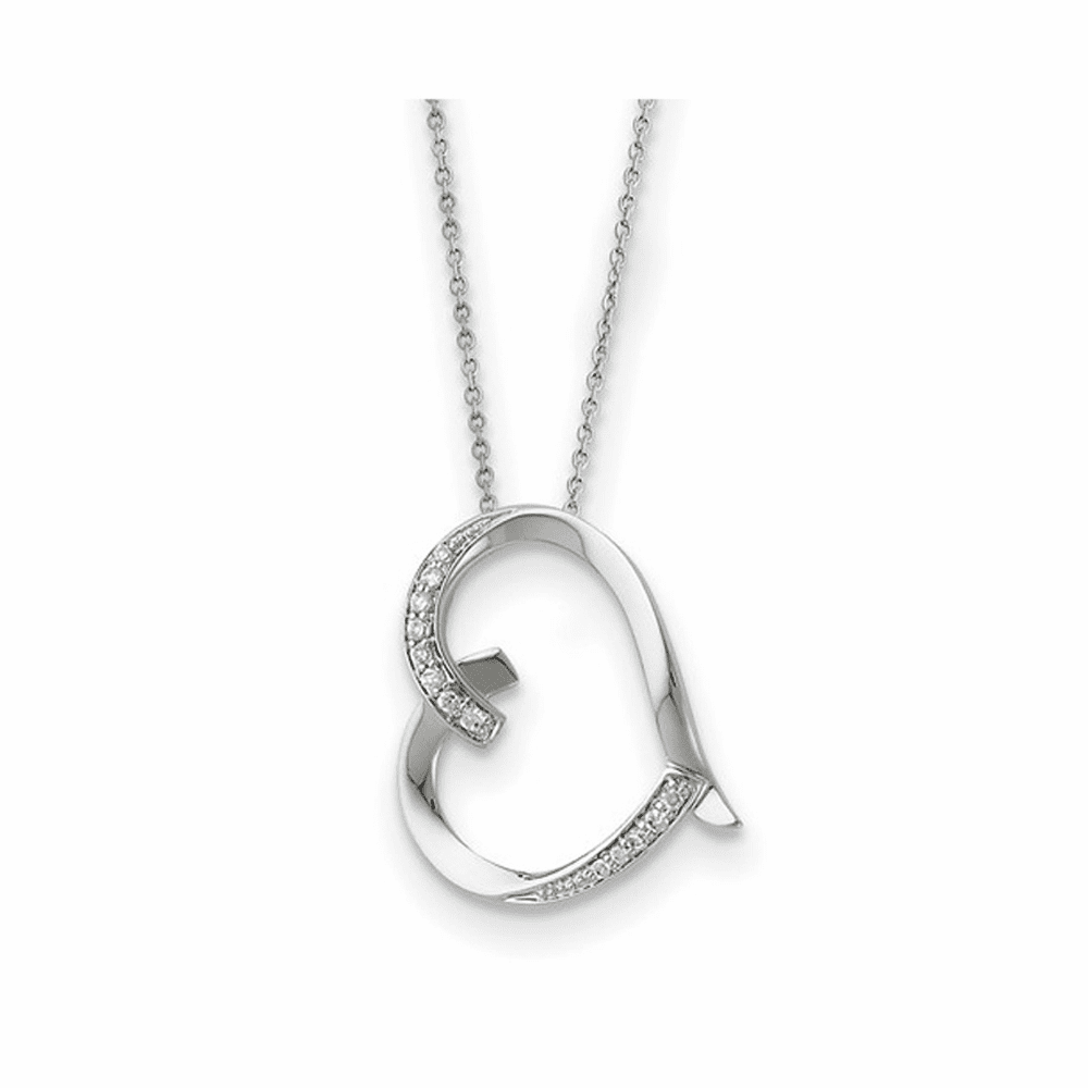 Antiqued CZ Love You Mom Necklace - Sterling Silver 18 Inch