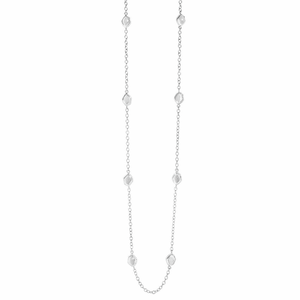 Bead Element On Oval Link Long Necklace - Sterling Silver 32 Inch