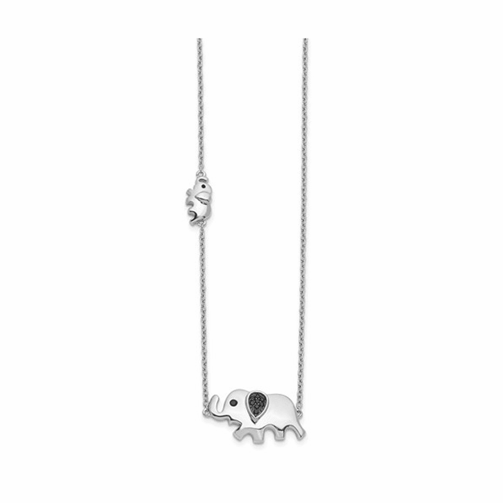 Black Diamond Elephant Necklace - 14K White Gold 18 Inch