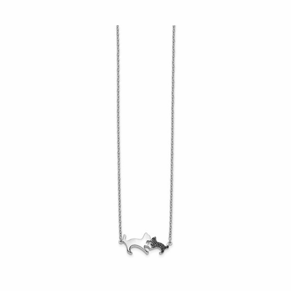 Black Diamond Mother and Baby Cat Necklace - 14K White Gold 18 Inch