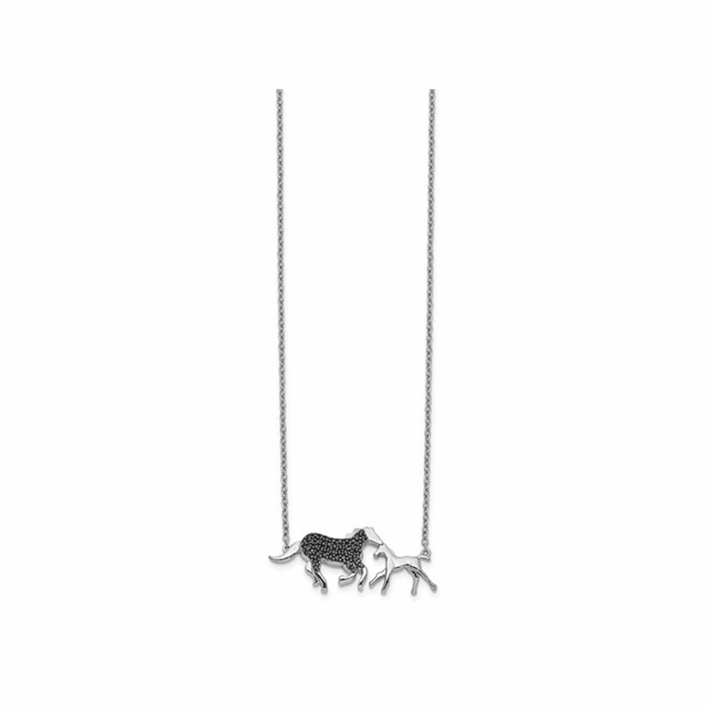 Black Diamond Mother and Baby Horse Necklace - 14K White Gold 18 Inch