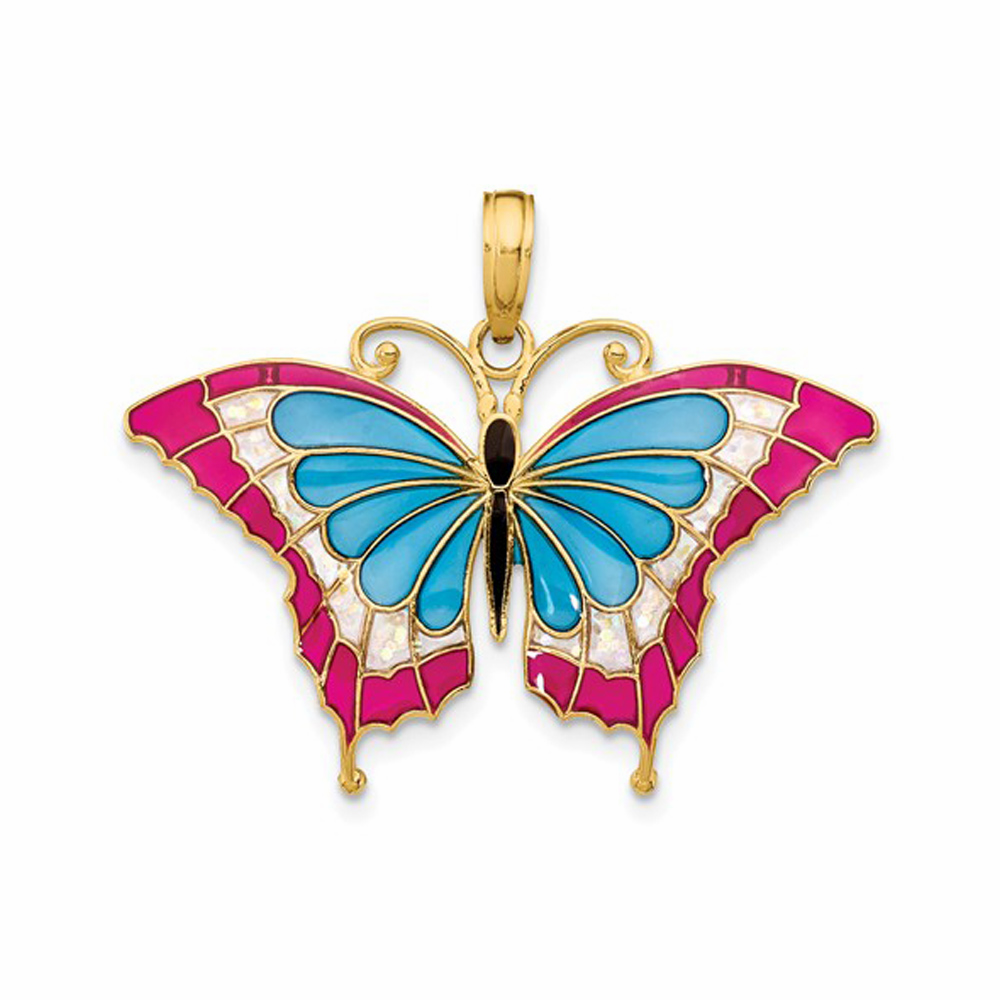 Blue and Pink Enameled Butterfly Pendant - 14K Yellow Gold