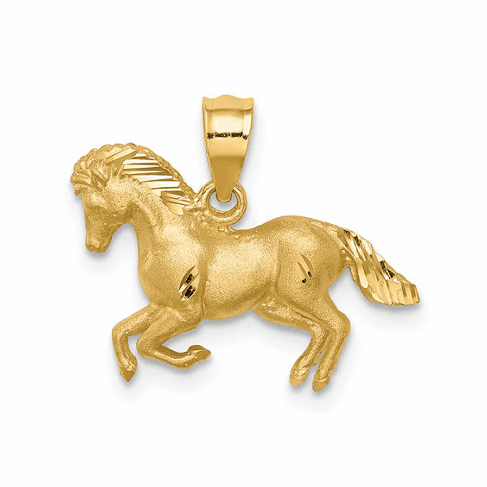 Brushed and Diamond-Cut Horse Pendant - 14K Yellow Gold
