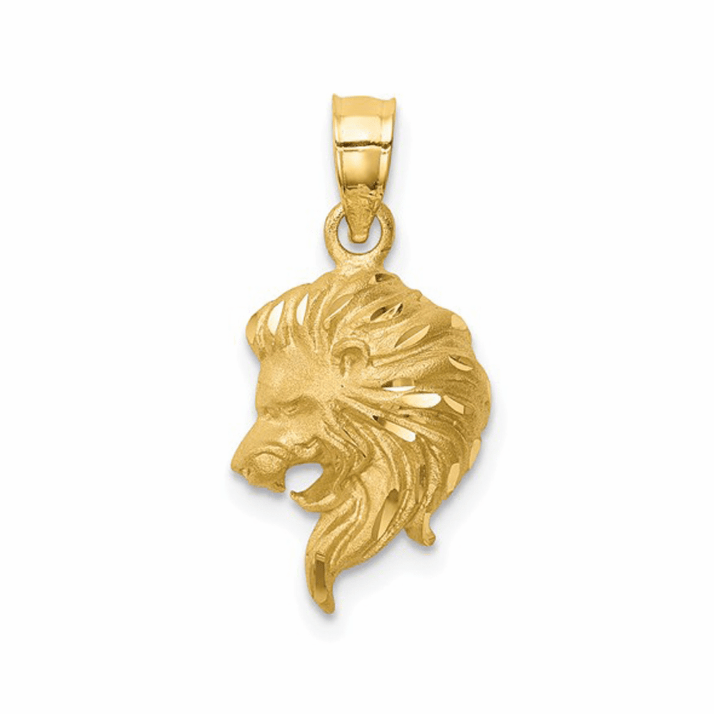 Brushed and Diamond-Cut Lion Head Pendant - 14K Yellow Gold