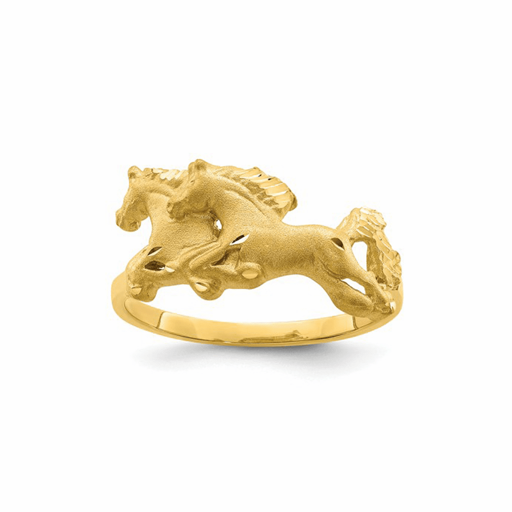 Brushed and Polished D/C Horse Ring - 14K Yellow Gold Size 7