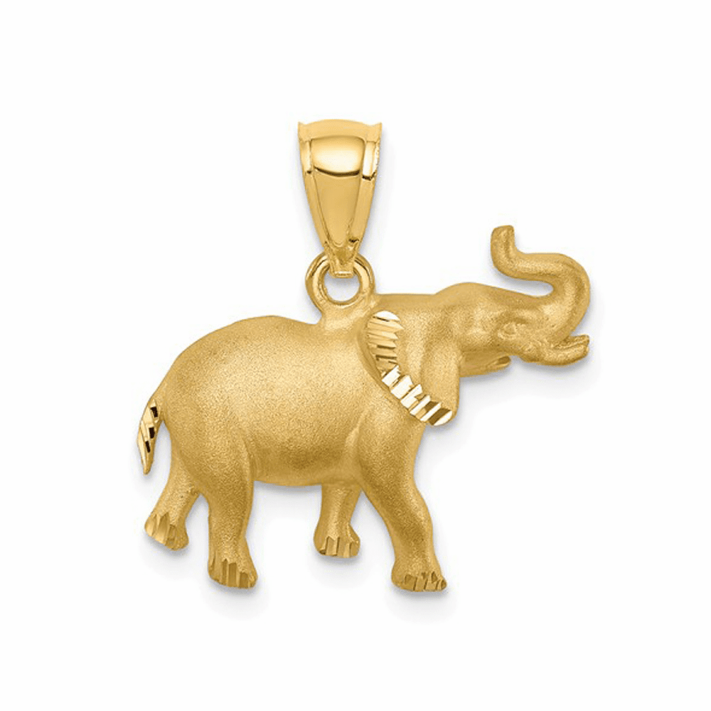 Brushed, Casted and Diamond-Cut Elephant Pendant - 14K Yellow Gold