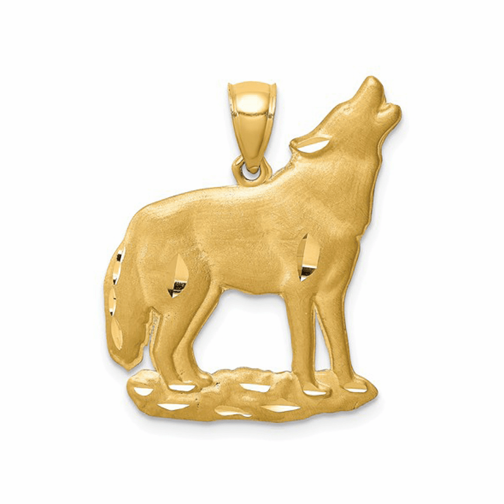 Brushed D/C Wolf Pendant - 14K Yellow Gold