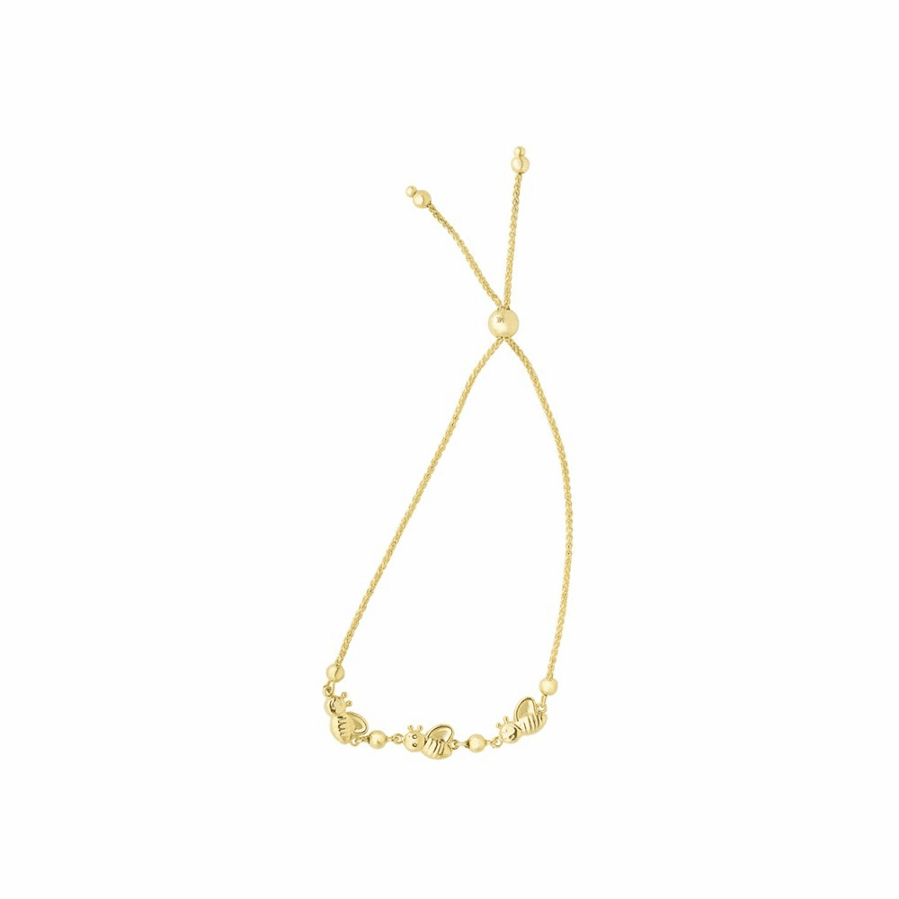 Bumble Bee Center Element Bracelet - 14K Yellow Gold Size 9.25 Inch