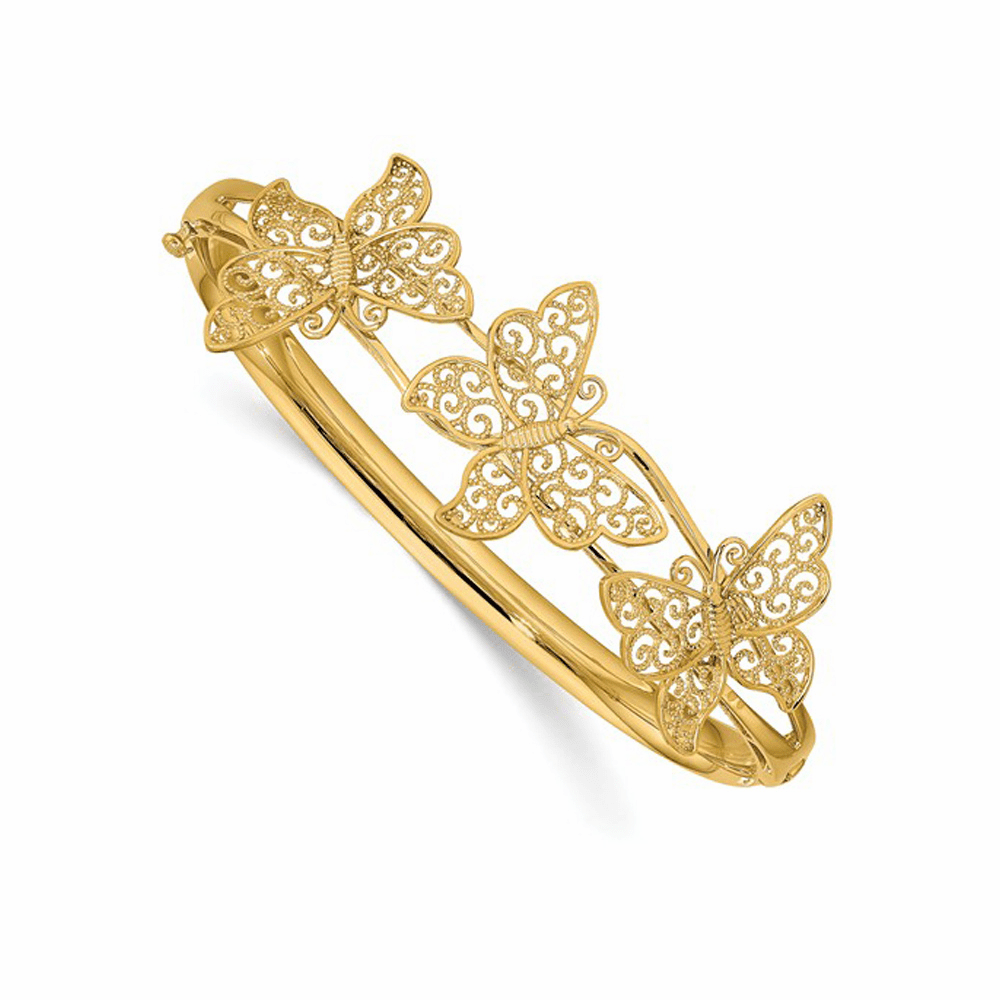 Butterfly Bangle Bracelet - 14K Yellow Gold