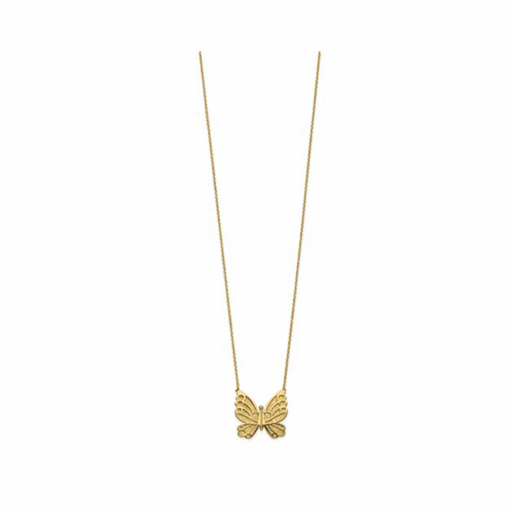 Butterfly with 2 inch Extension Necklace - 14K Yellow Gold 17 Inch