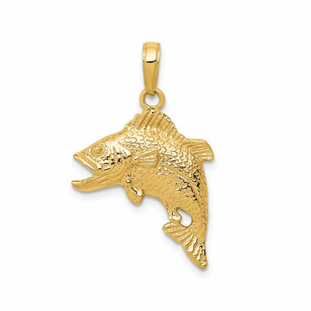 Casted Jumping Bass Fish Pendant - 14K Yellow Gold