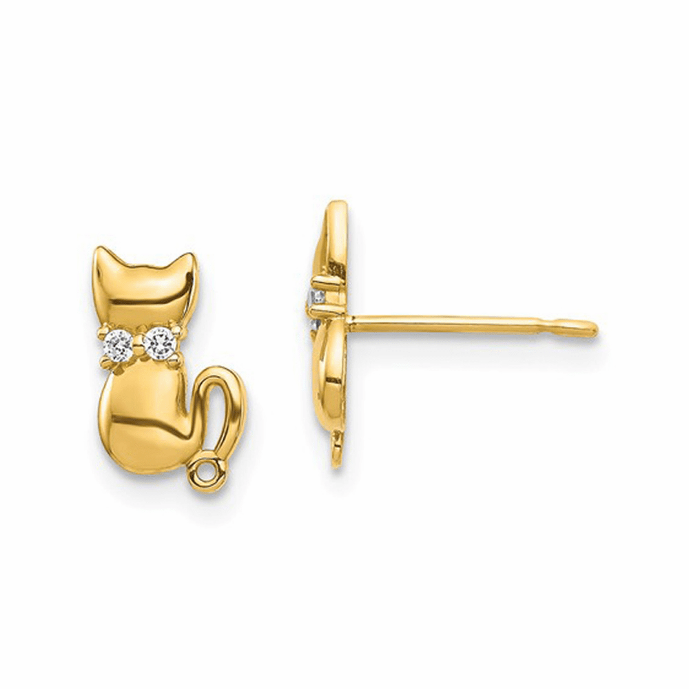 Cat CZ Bowtie Stud Earrings - 14K Yellow Gold