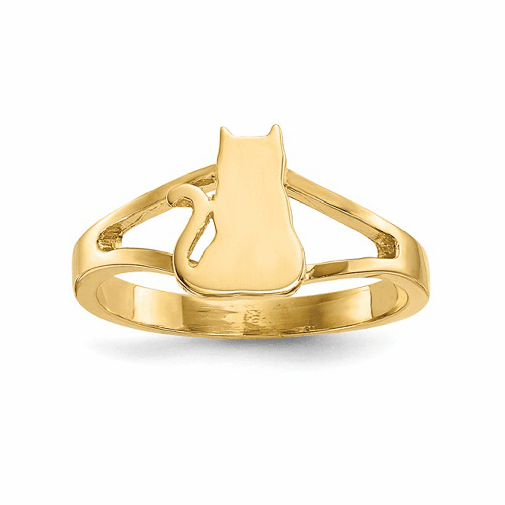 Cat Polished Ring - 14K Yellow Gold Size 7