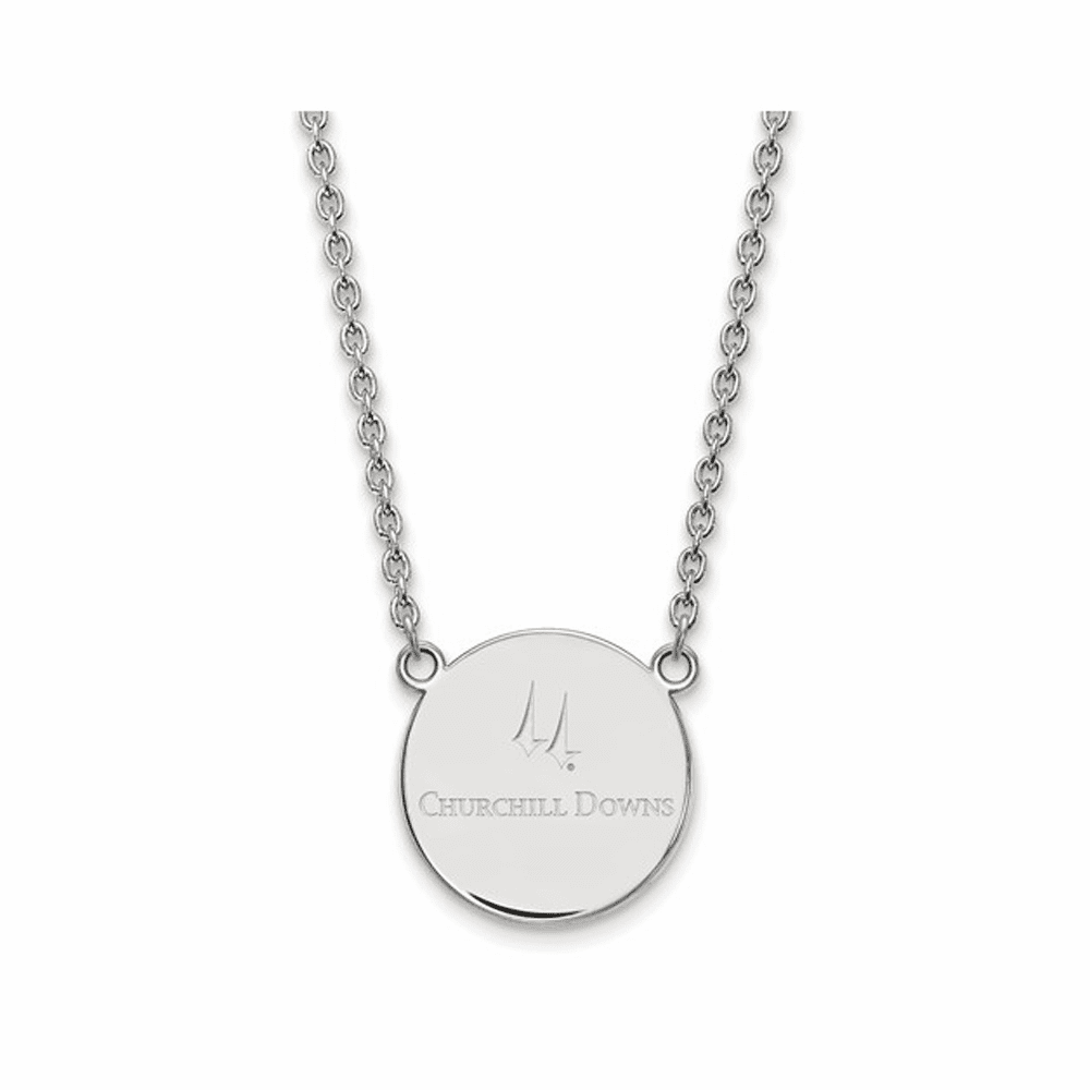 Churchill Downs LogoArt Large Disc Pendant Necklace - Silver 18 Inch