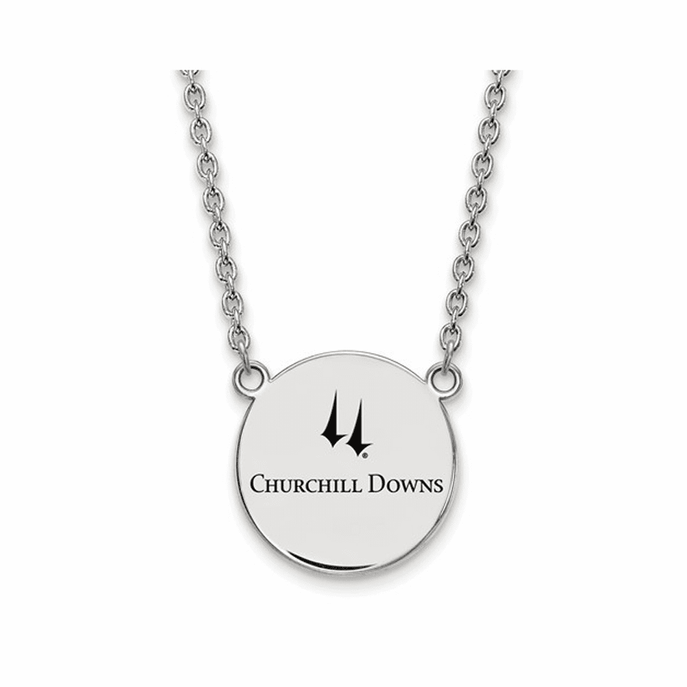 Churchill Downs LogoArt Polished Pendant Necklace - Silver 18 Inch