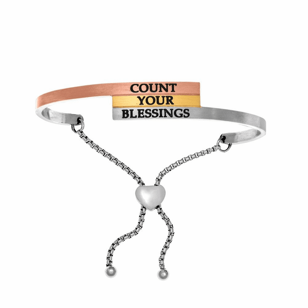 Count Your Blessings Adjustable Bangle - Stainless Steel