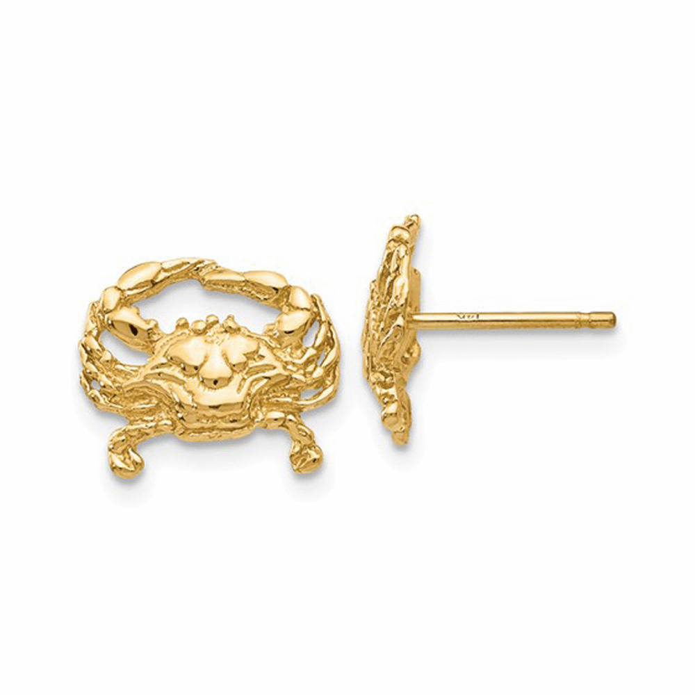 Crab Post Earrings - 14K Yellow Gold