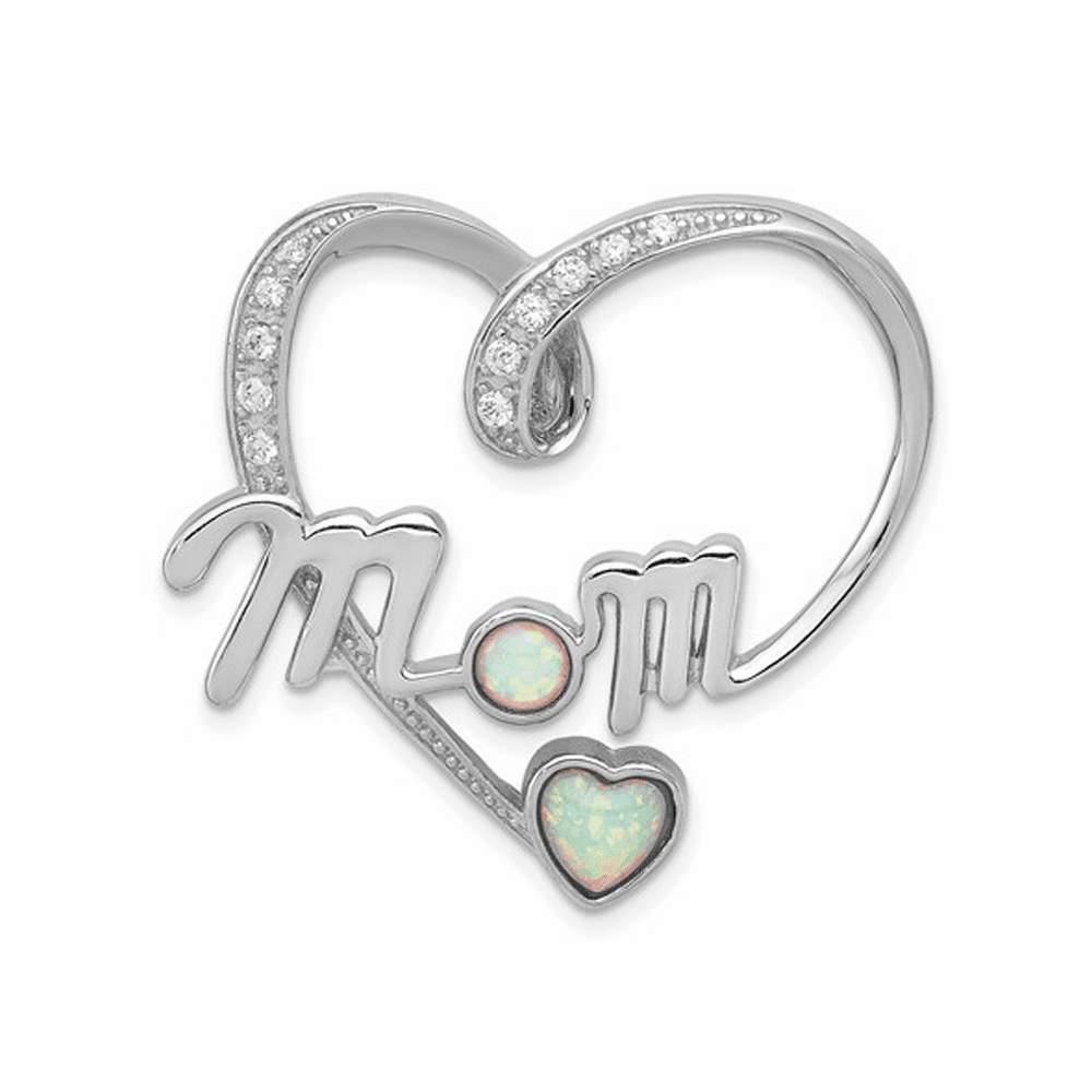 Created Pink Opal and CZ Mom Pendant - Sterling Silver
