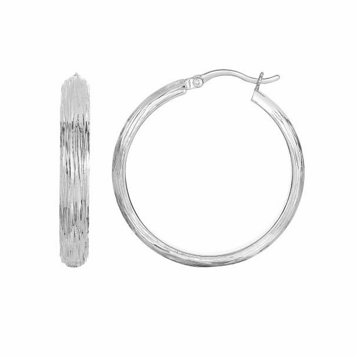 Cut Domed Round Hoop Earring with Hinged Clasp