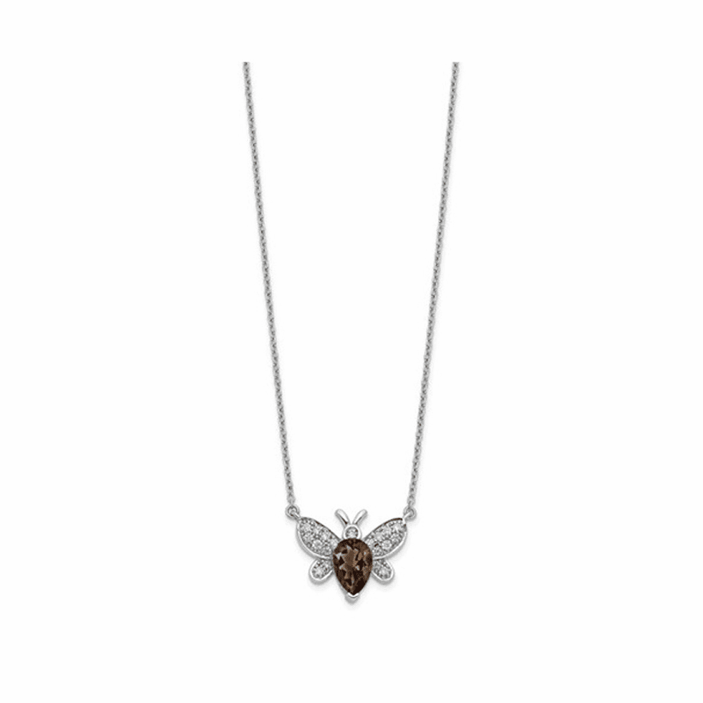 Diamond and Gemstone Bee Necklace - 14K White Gold 18 Inch