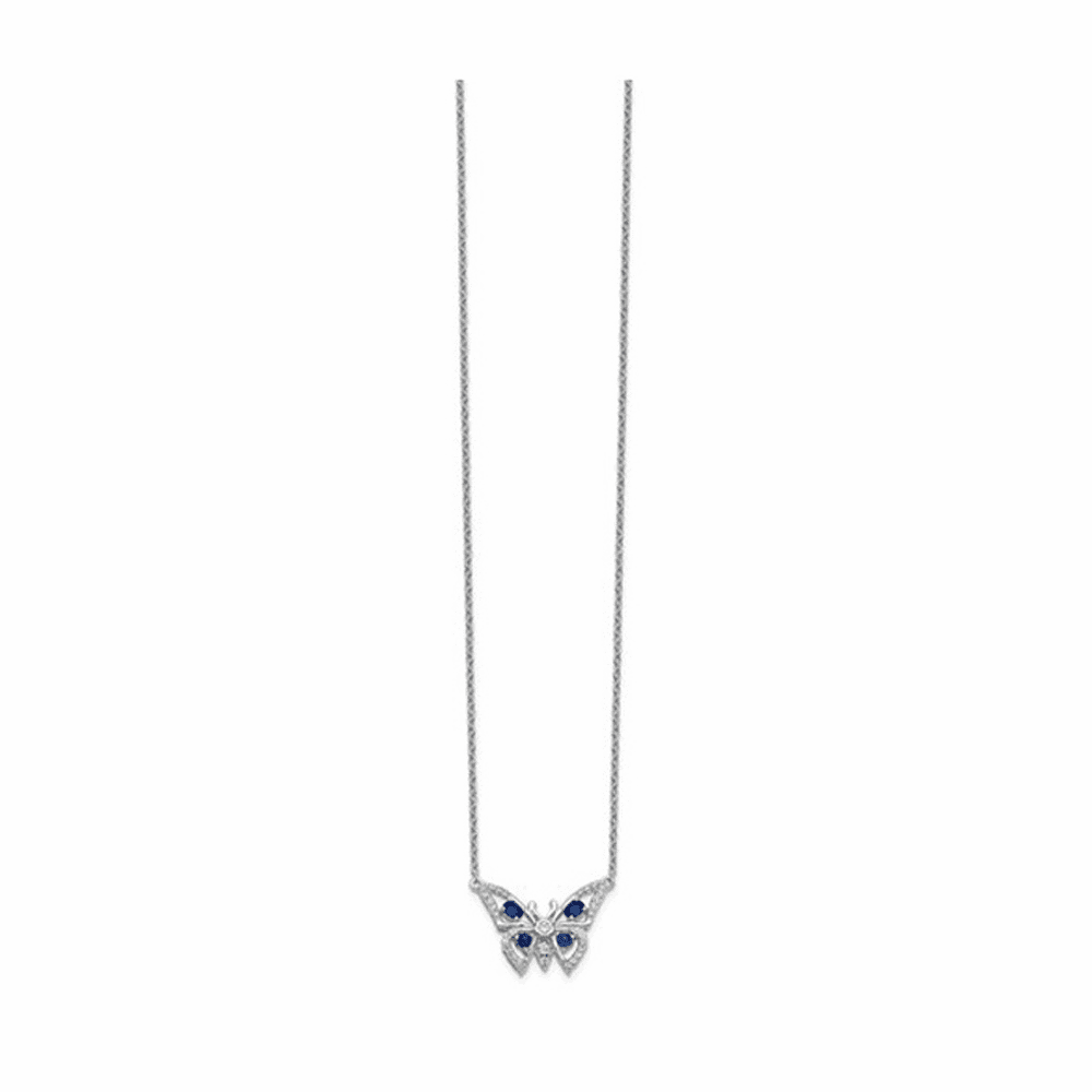 Diamond and Sapphire Butterfly Necklace - 14K White Gold 18 Inch