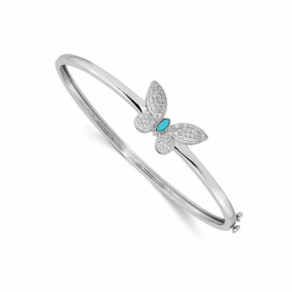 Diamond and Turquoise Butterfly Bangle Bracelet - 14K White Gold