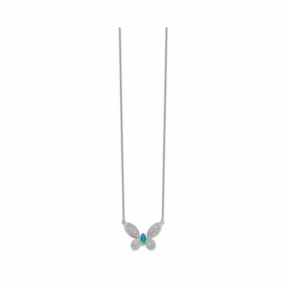 Diamond and Turquoise Butterfly Necklace - 14K White Gold 18 Inch