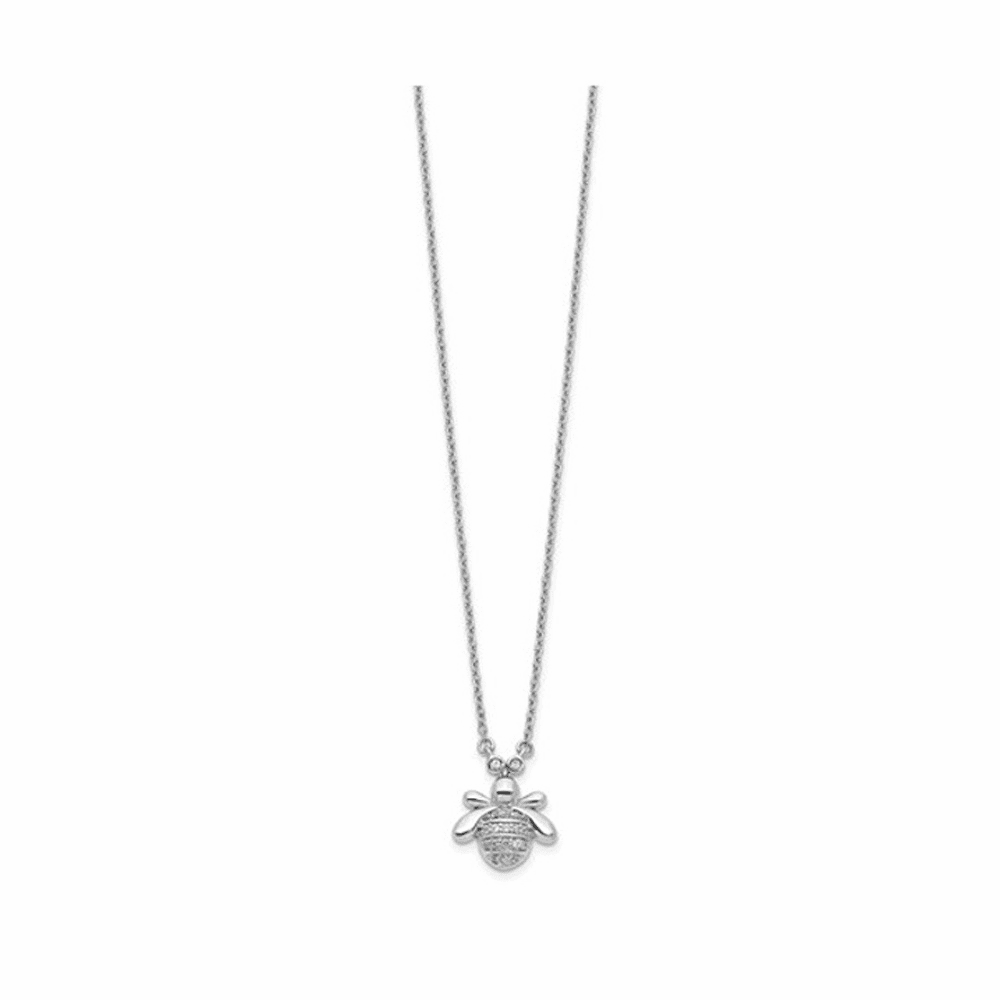 Diamond Bee Necklace - 14K White Gold 18 Inch
