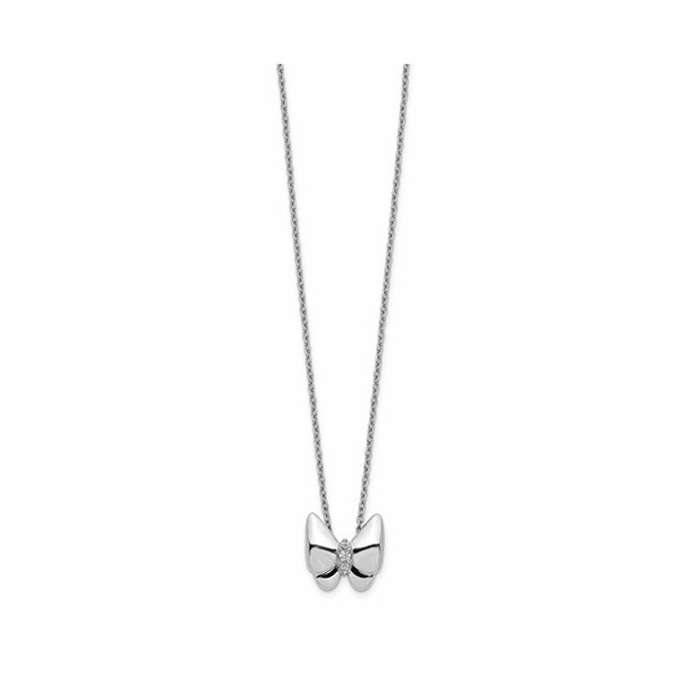 Diamond Butterfly Cable Necklace - 14K White Gold 18 Inch