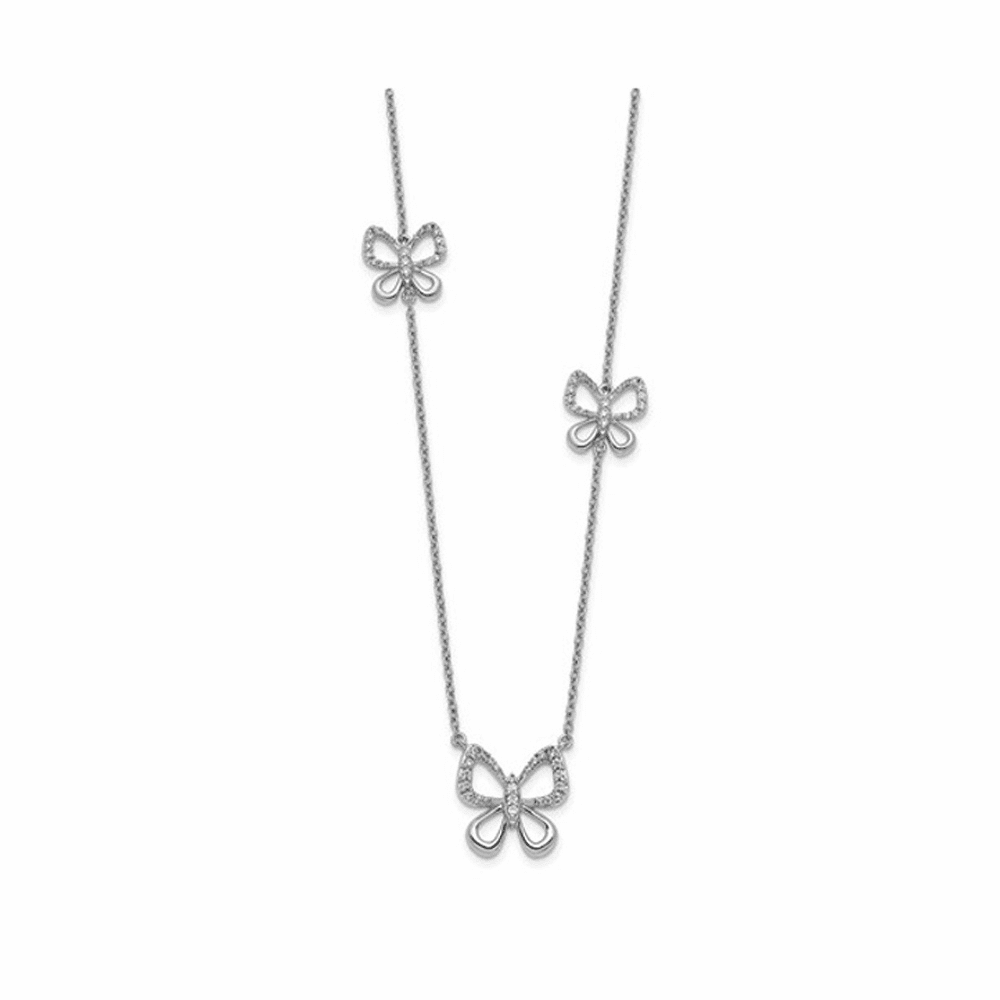 Diamond Butterfly Necklace - 14K White Gold 18 Inch