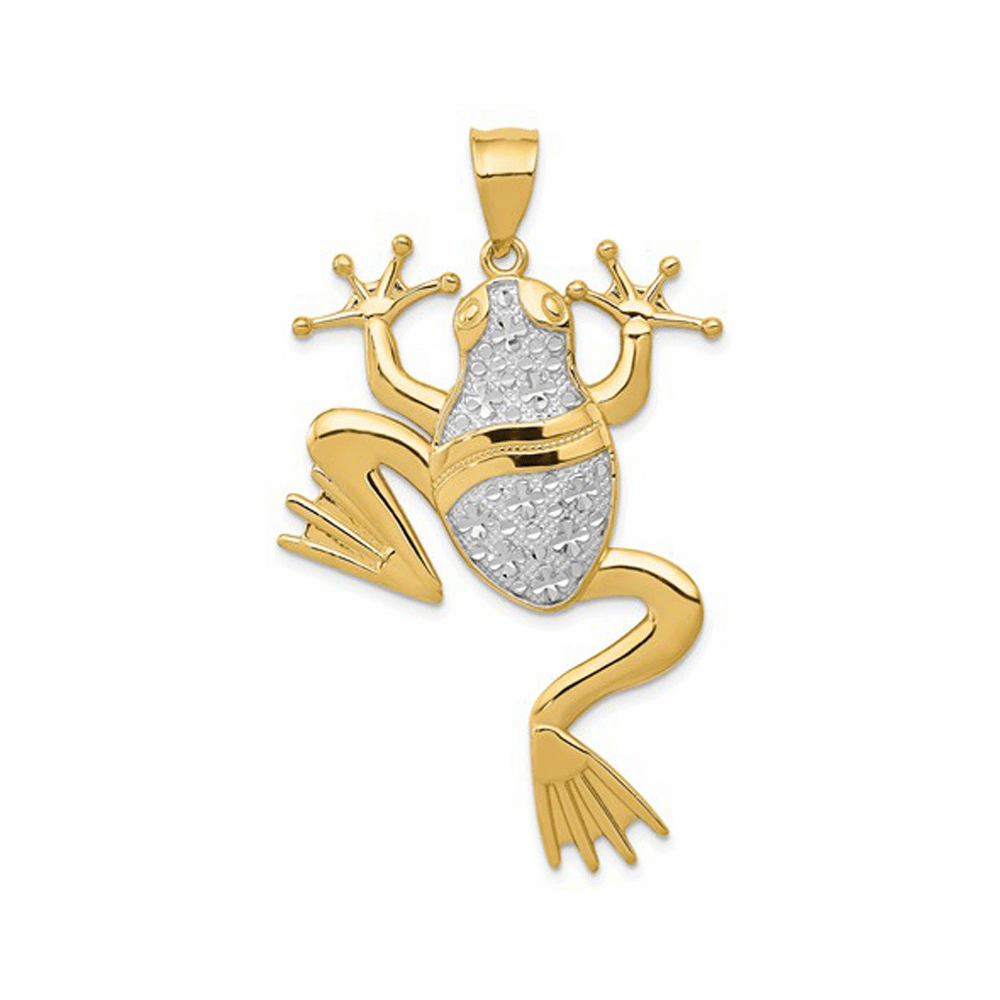 Diamond-Cut Casted Frog Pendant - 14K Yellow Gold