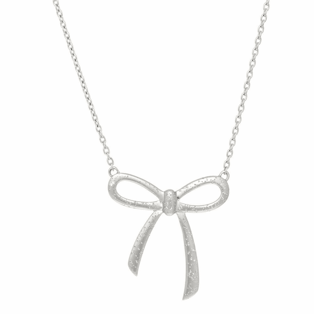 Diamond Dust Bow Tie Necklace - Sterling Silver 18 Inch