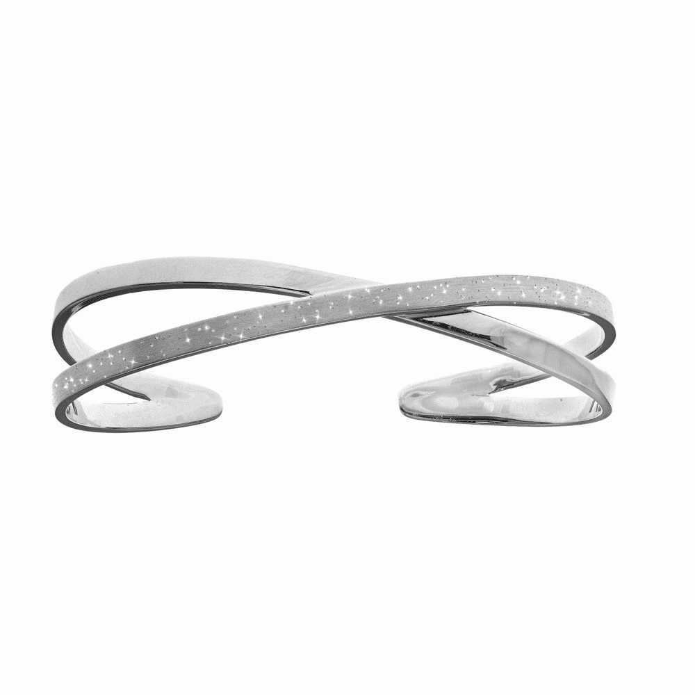 Diamond Dust Double Row Top Cuff Bangle - Sterling Silver