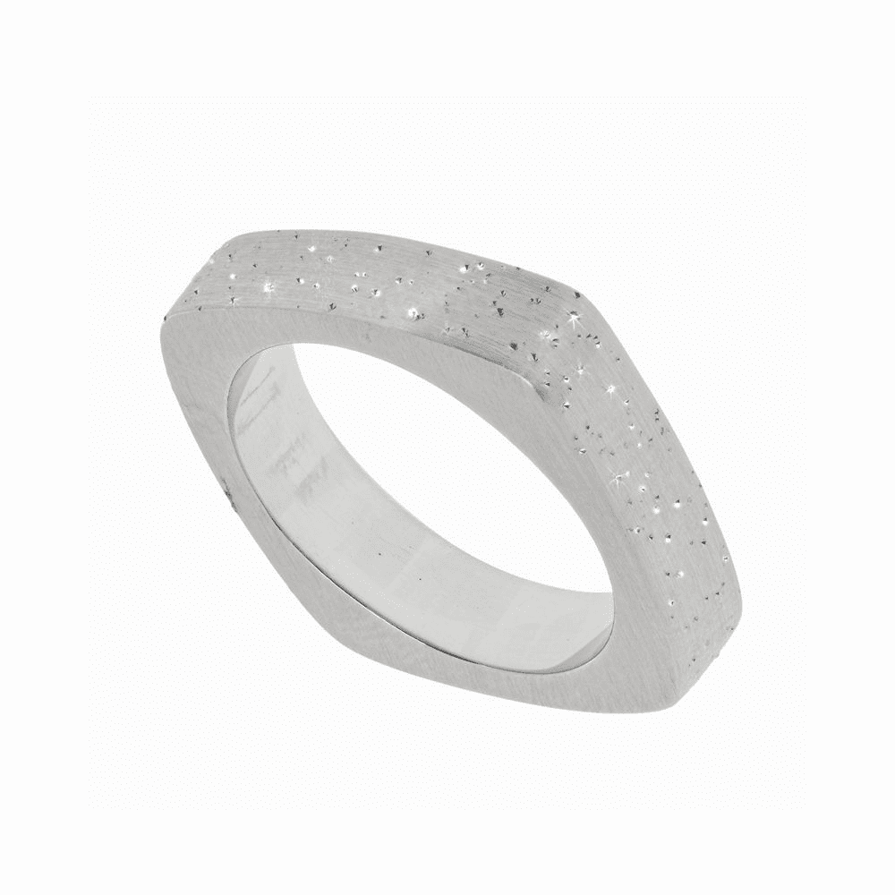 Diamond Dust Plated Square Band Ring - Sterling Silver Size 7